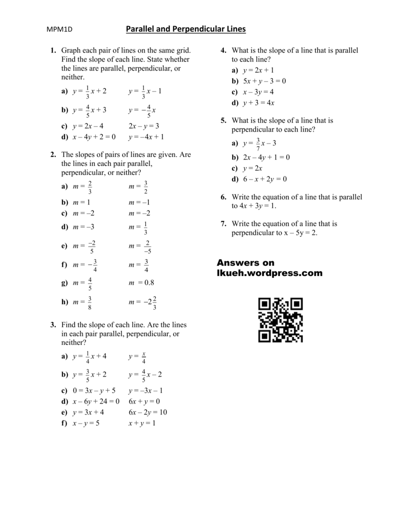 Lesson 4 – Parallel And Perpendicular Lines – Worksheet