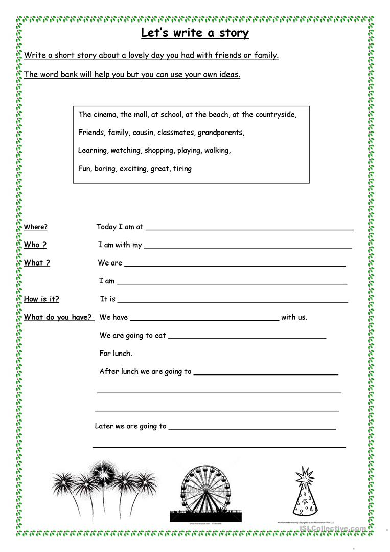 Let's Write A Short Story - English Esl Worksheets For