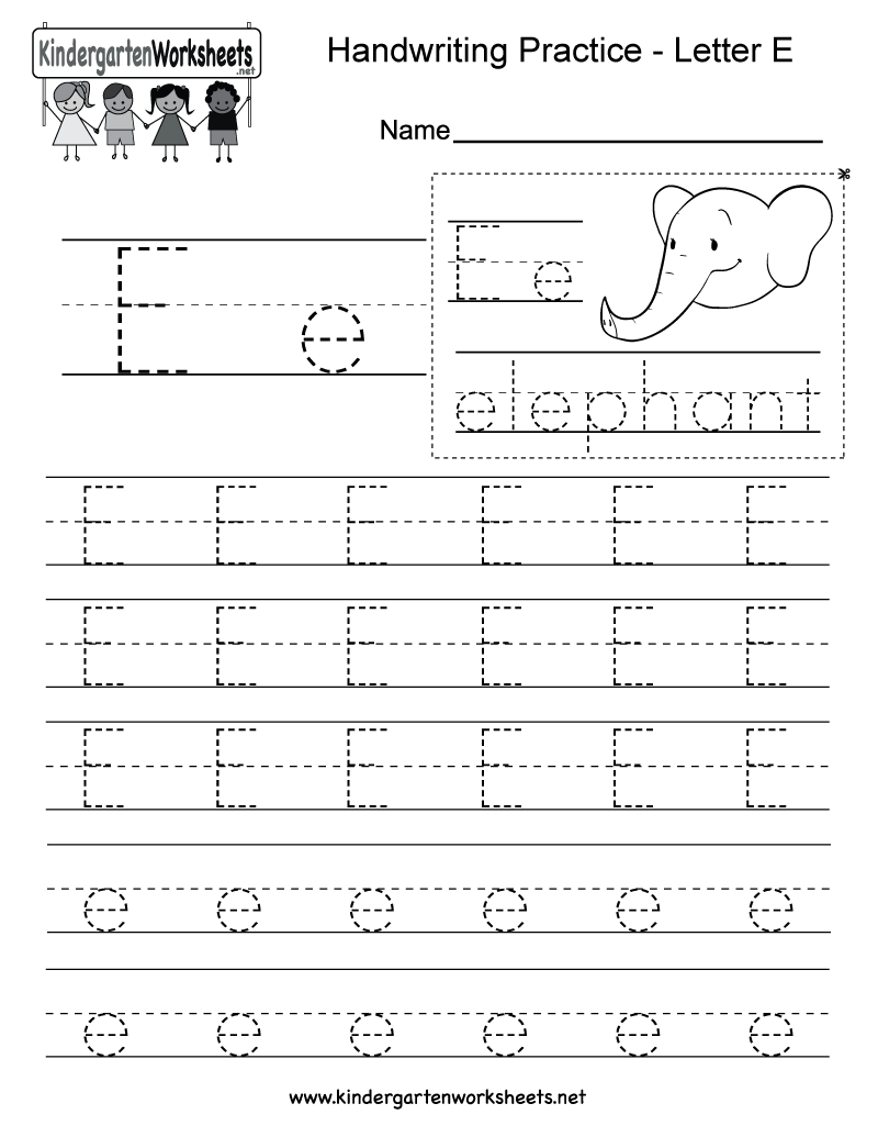 Letter E Writing Practice Worksheet. This Series Of