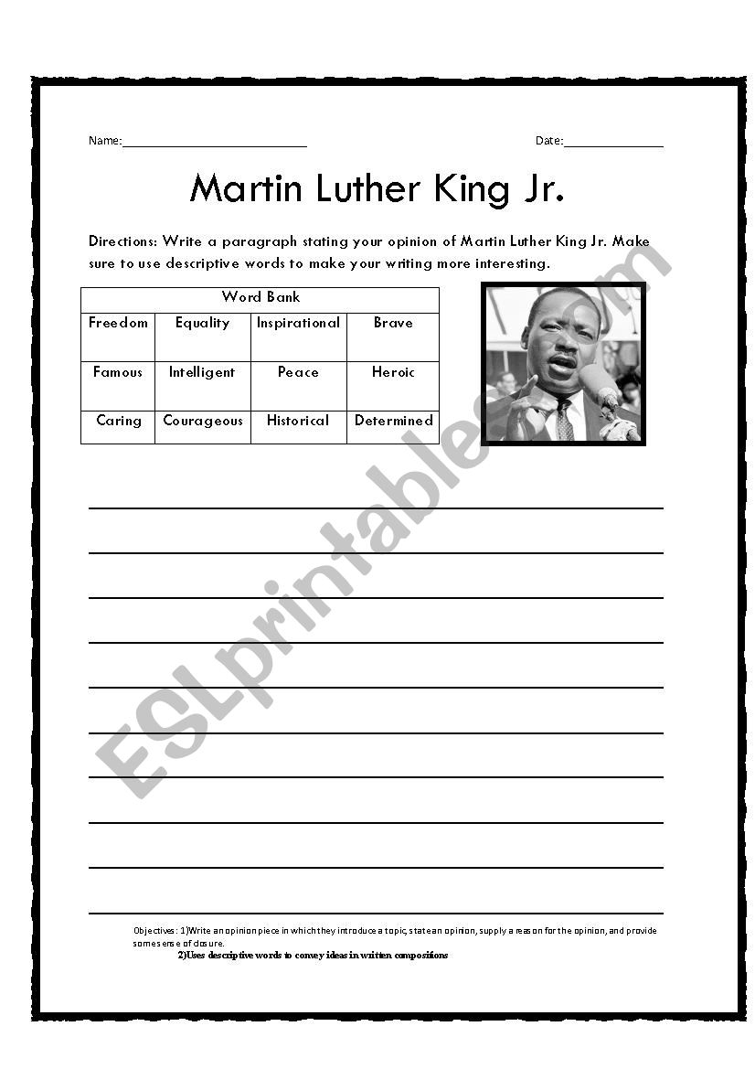 Martin Luther King Writing Prompt Worksheets