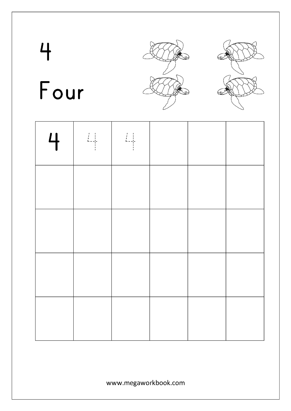 Math Worksheet - Write Number Four (4) | Writing Numbers
