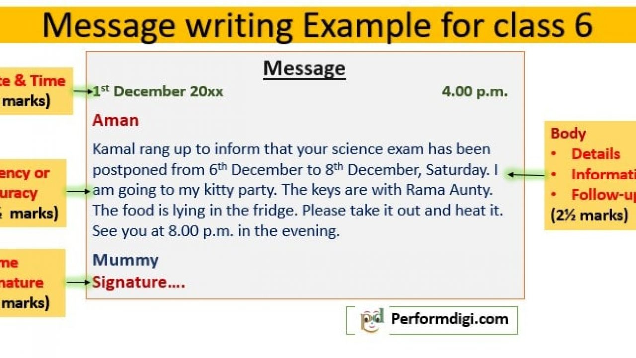 Message Writing For Class 6 Worksheet