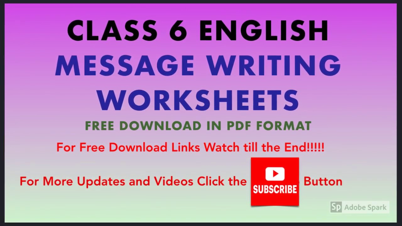 Message Writing For Class 6 - English Grammar Worksheets