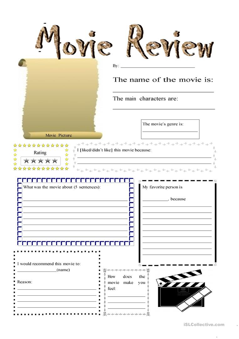 Movie Review - English Esl Worksheets For Distance Learning