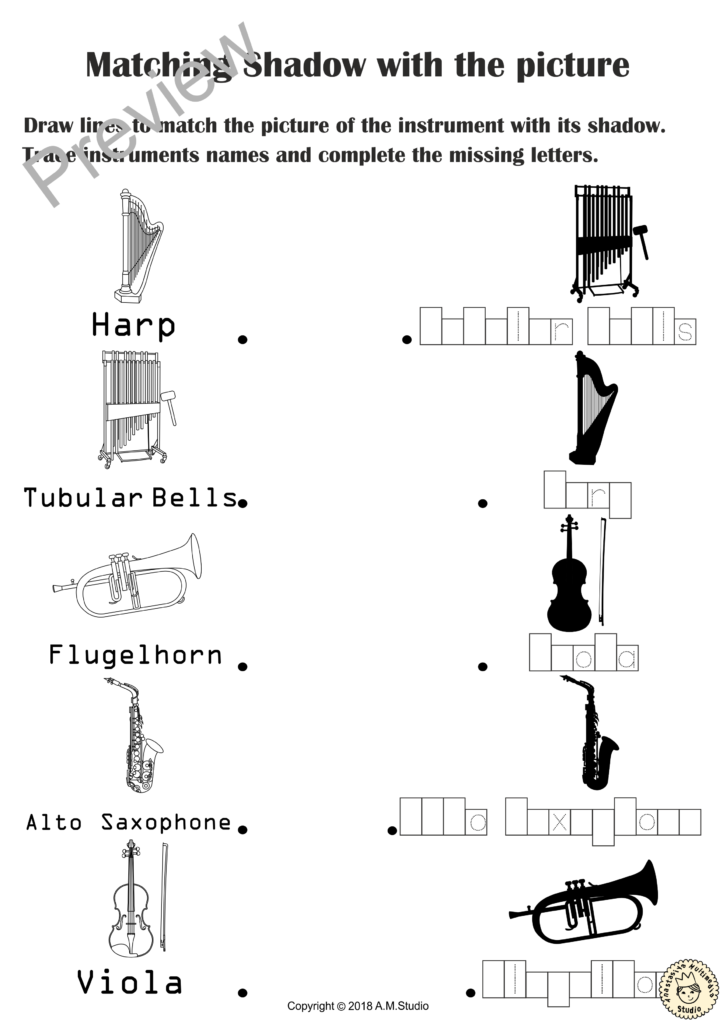 Musical Instruments Shadow Matching Worksheets   Distance