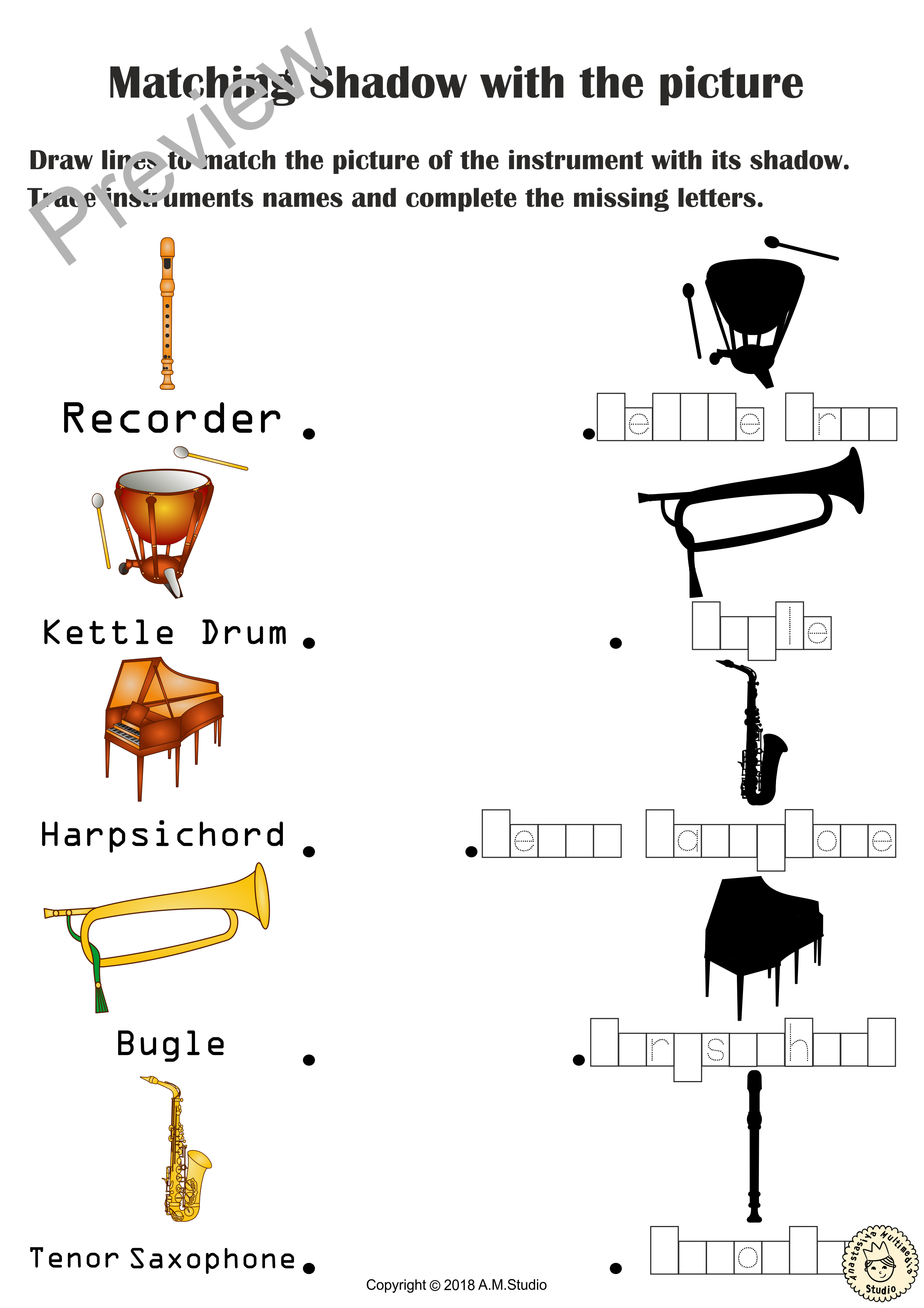 Musical Instruments Shadow Matching Worksheets   Fun On Best