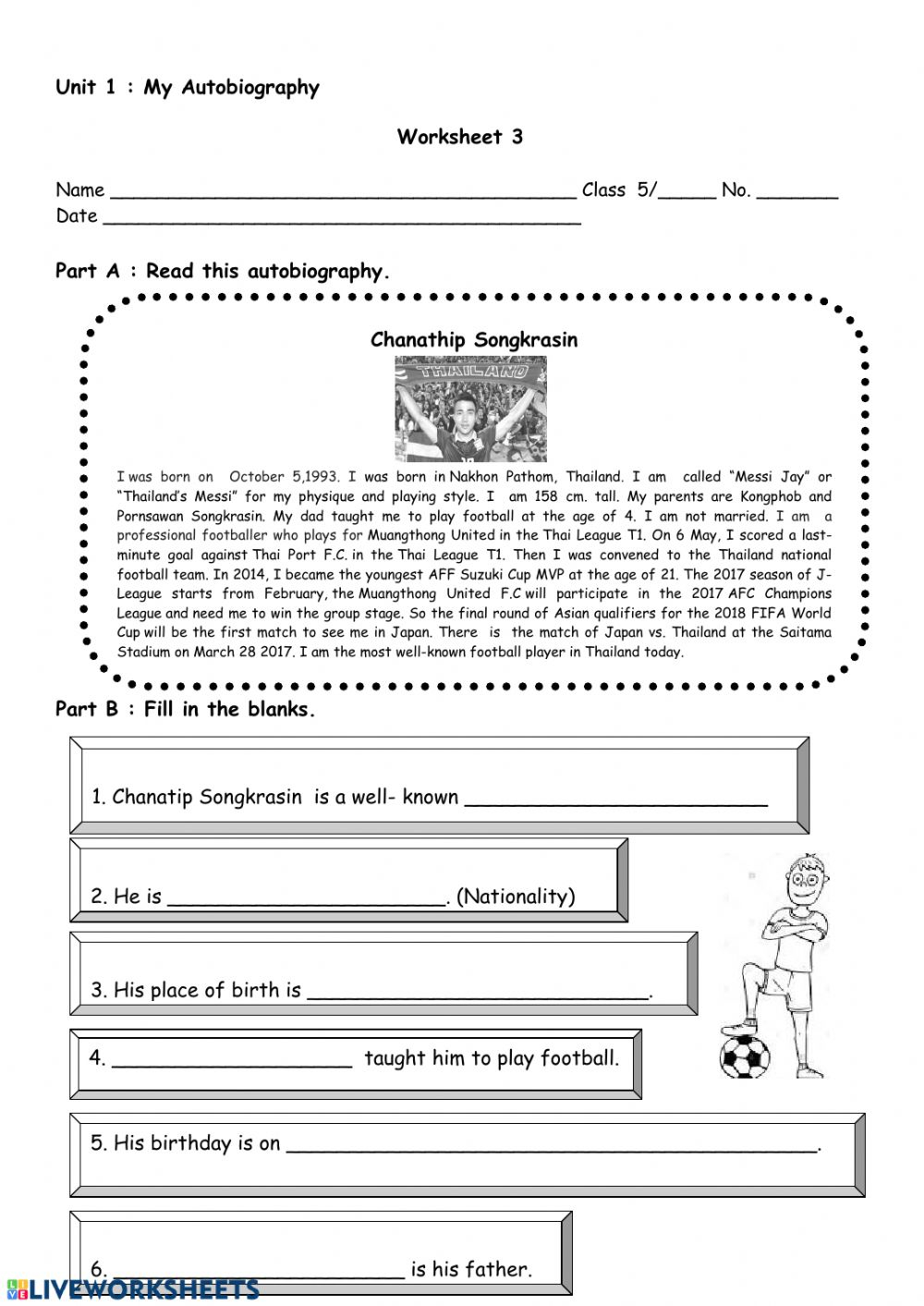 My Autobiography Interactive Worksheet Worksheets For