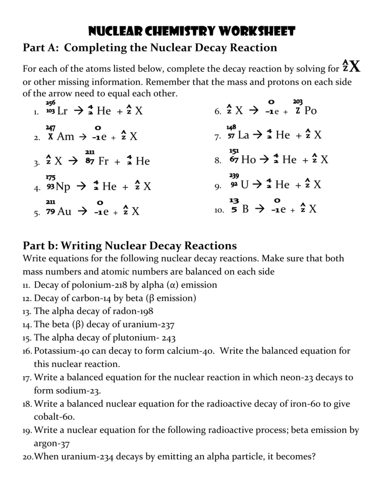 Nuclear Decay Worksheet Answer Key - Nidecmege