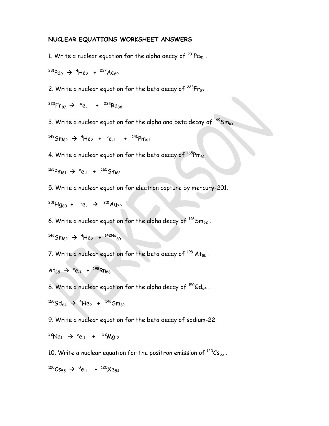 Writing Nuclear Equations Worksheet Answers