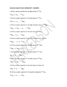 Nuclear Equations Worksheet Answers – Typepad Pages 1 – 3