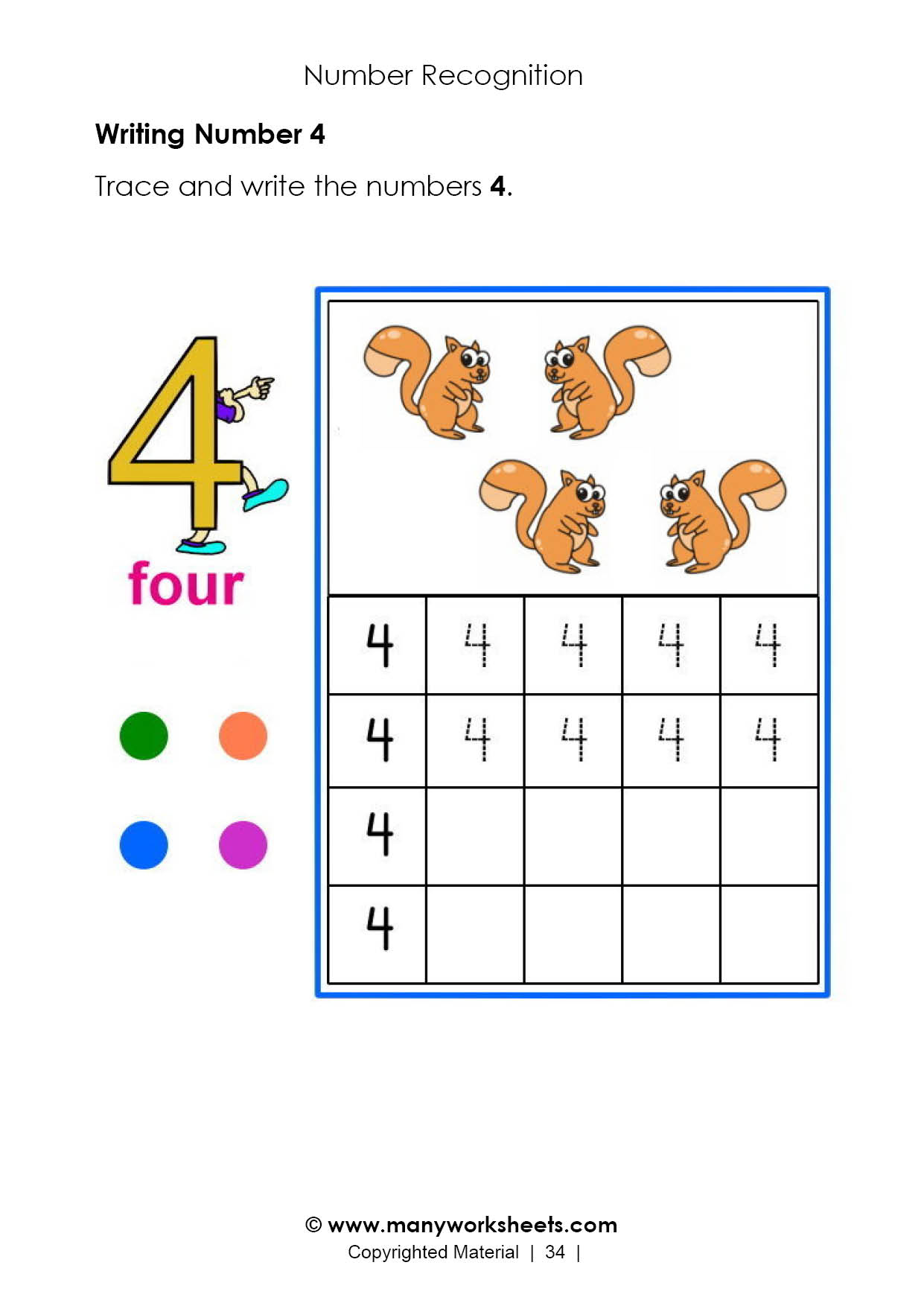 Number 4 – Tracing And Handwriting Practice Worksheet