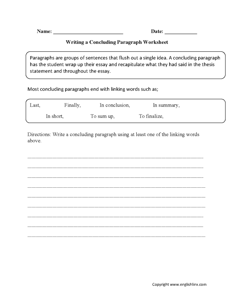 Paragraph Writing Worksheets   Writing Concluding Paragraph