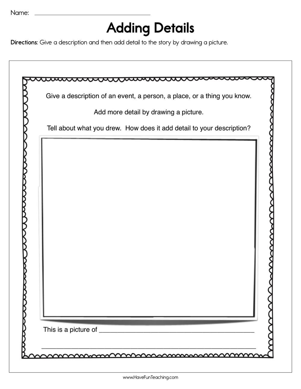 Adding Details To Writing Worksheets