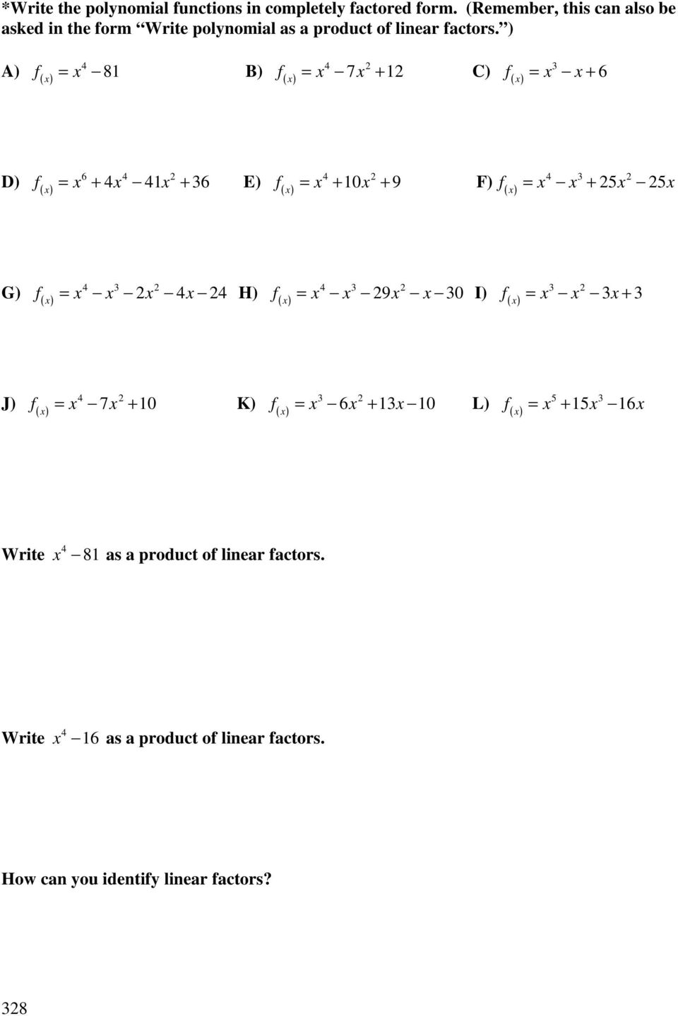 Polynomial Functions - Pdf Free Download
