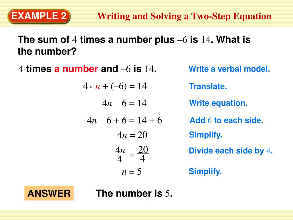 Ppt - Writing And Solving A Two-Step Equation Powerpoint
