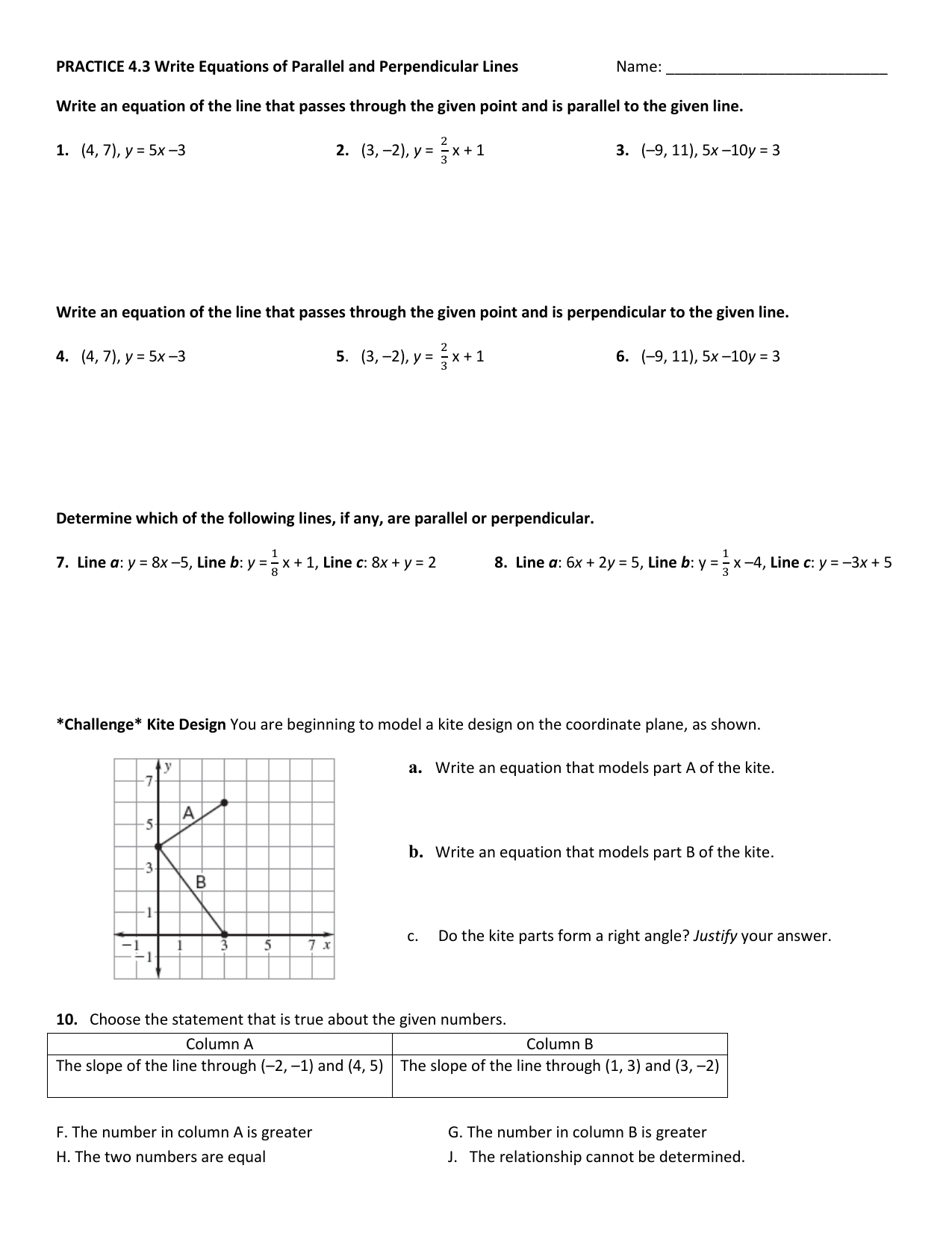 Practice 4.3 Write Equations Of Parallel And Perpendicular Lines