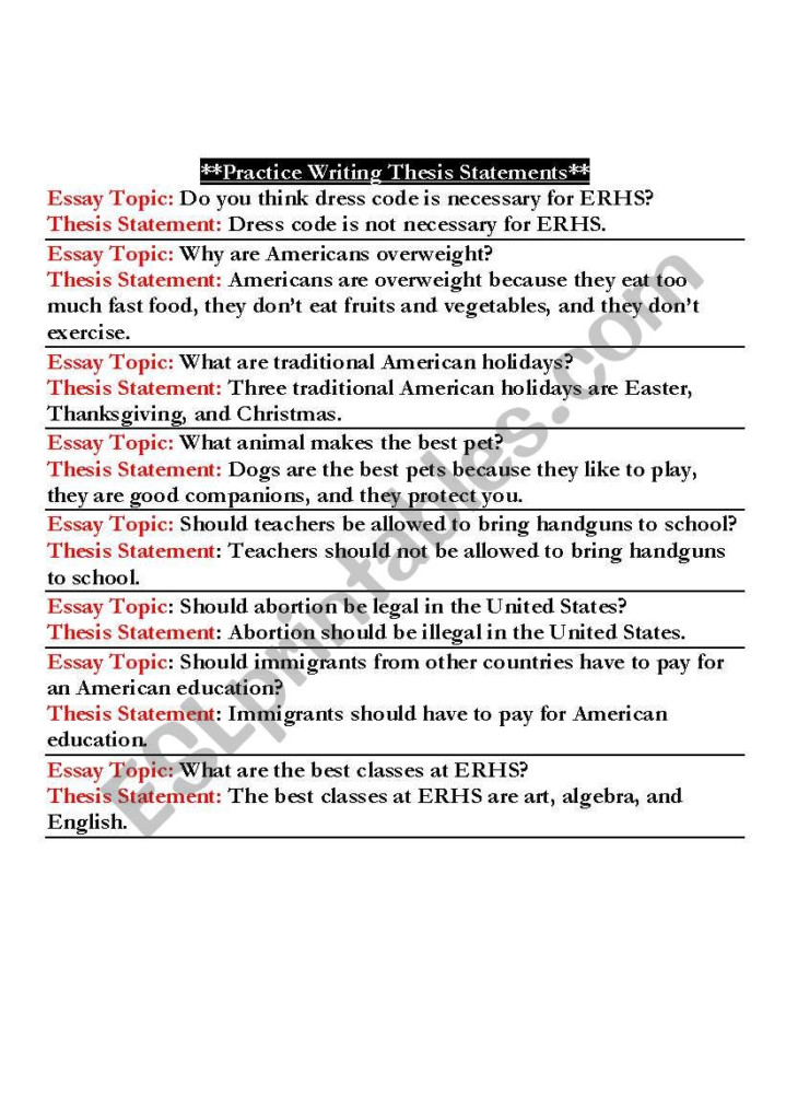 Practice Writing A Thesis Statement   Esl Worksheet
