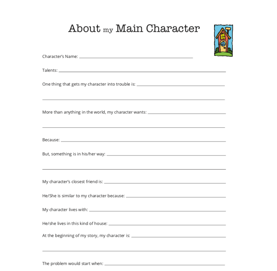 Printable Writing Worksheet - Character Interview Activity