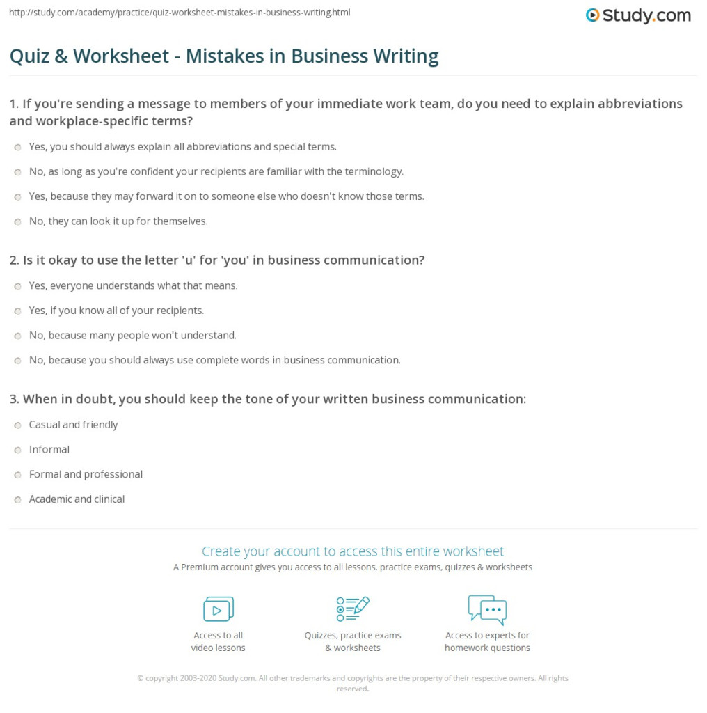 Quiz & Worksheet   Mistakes In Business Writing | Study