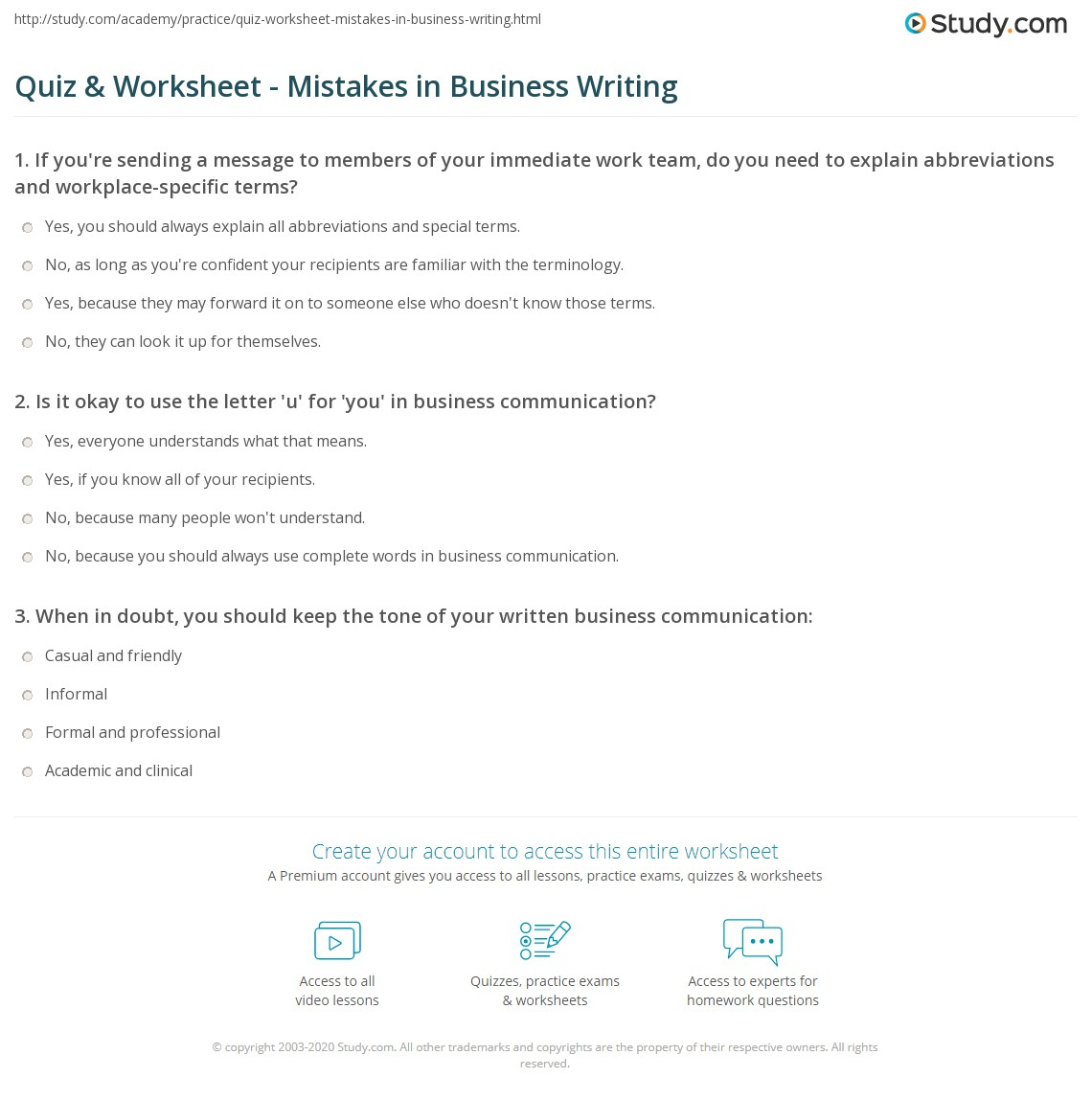 Quiz & Worksheet - Mistakes In Business Writing | Study