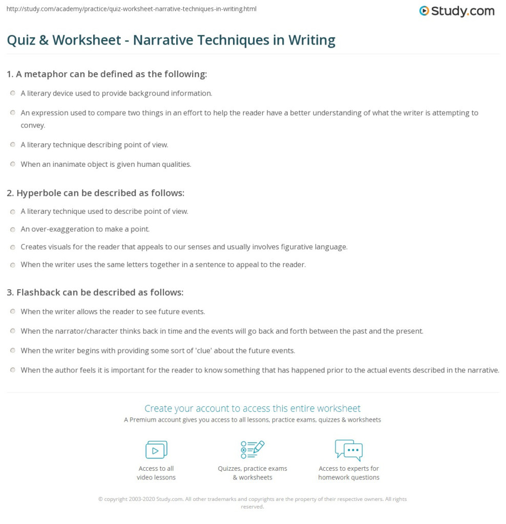 Quiz & Worksheet   Narrative Techniques In Writing | Study