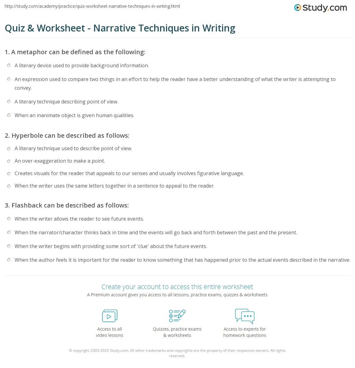 Quiz & Worksheet - Narrative Techniques In Writing | Study