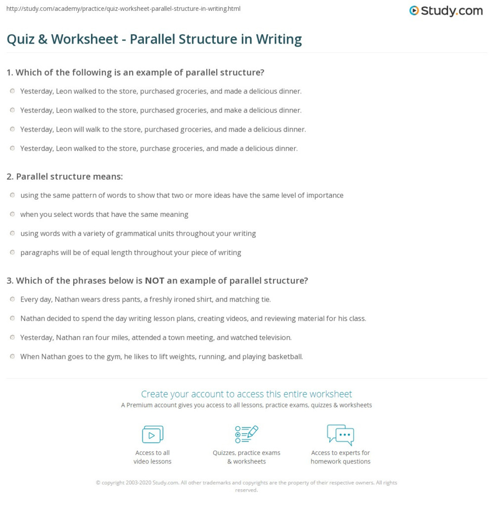 Quiz & Worksheet   Parallel Structure In Writing | Study