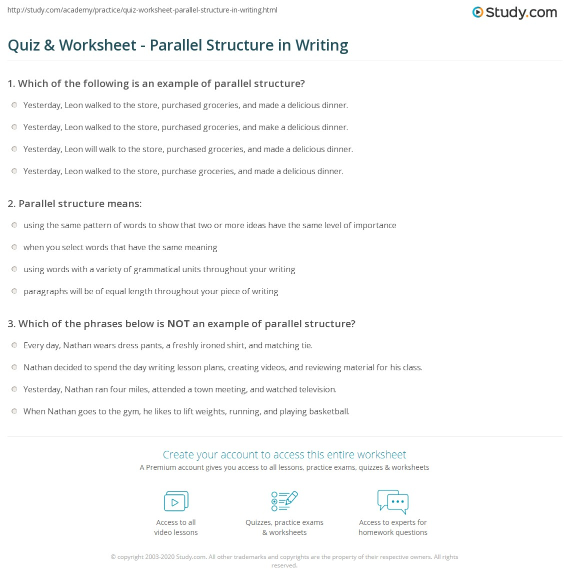 Quiz & Worksheet - Parallel Structure In Writing | Study