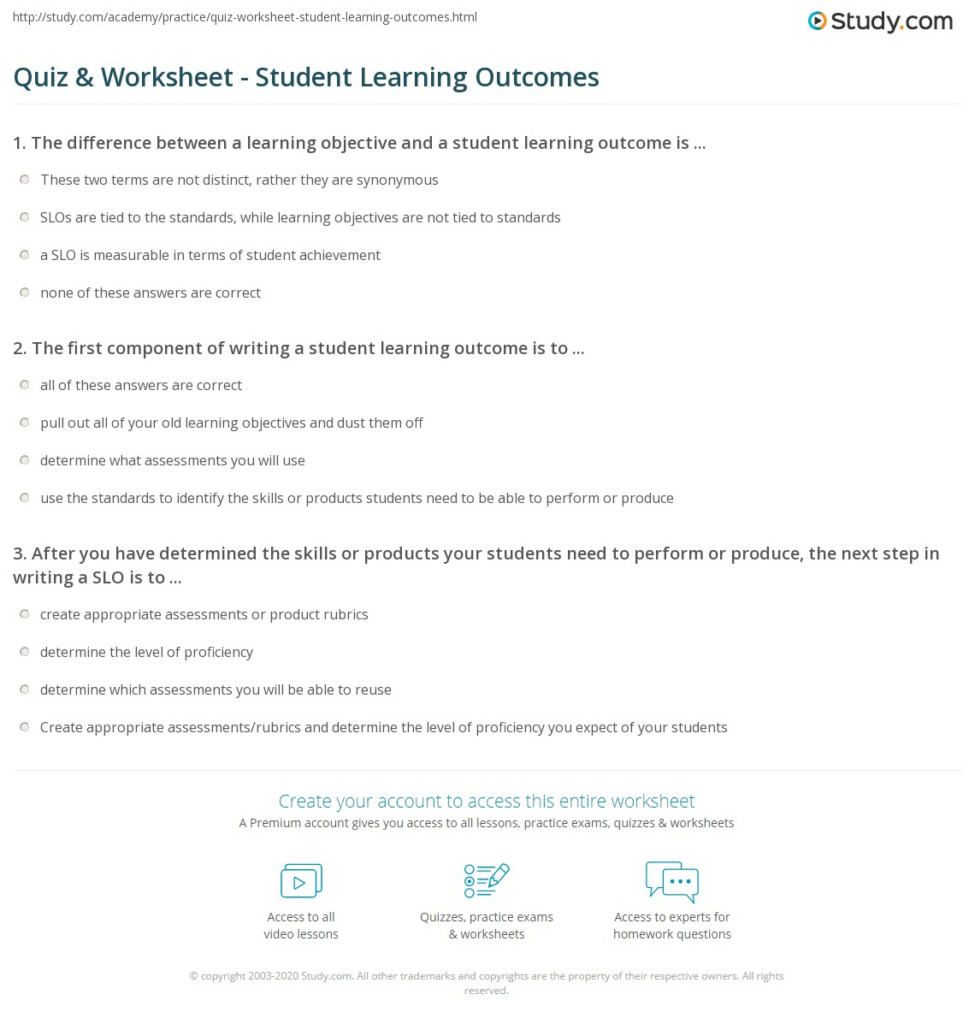 Quiz & Worksheet   Student Learning Outcomes | Study