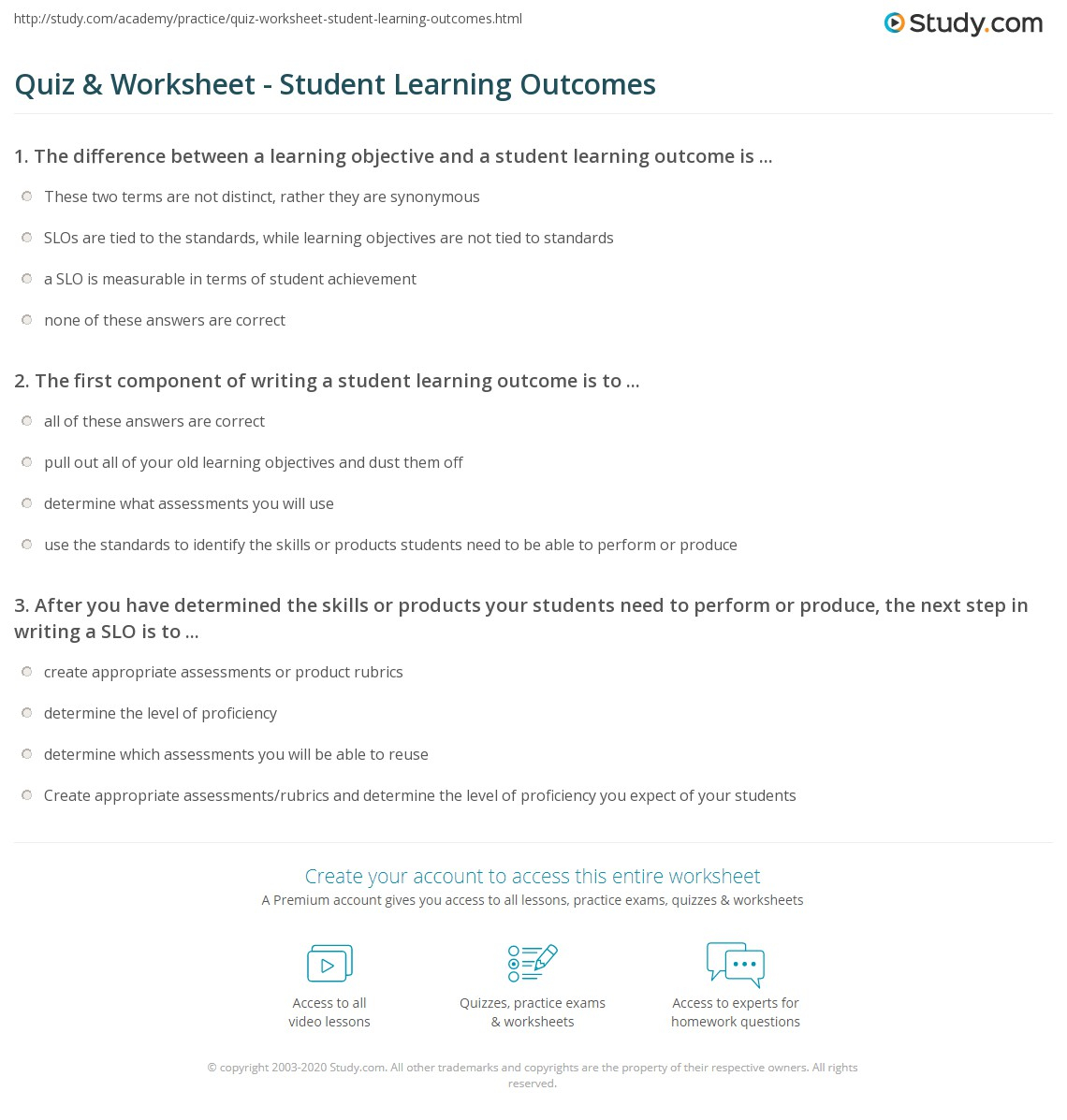 Quiz & Worksheet - Student Learning Outcomes | Study
