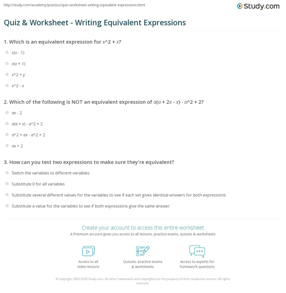 Quiz & Worksheet   Writing Equivalent Expressions   Study
