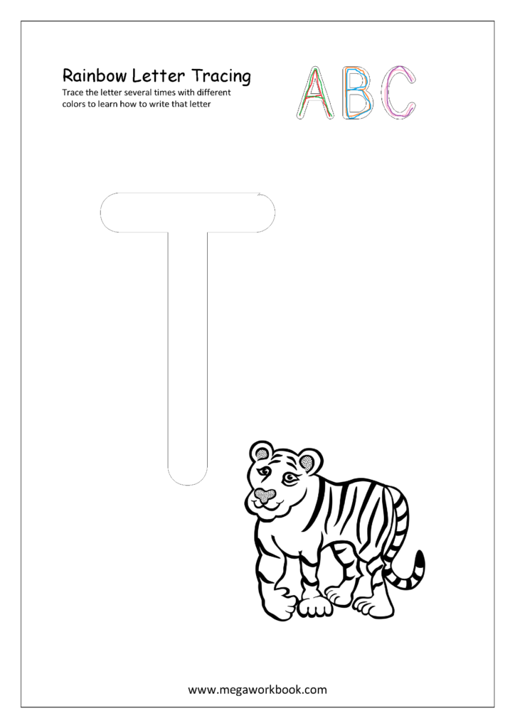 Rainbow Letter Tracing For Capital Letters   Alphabet