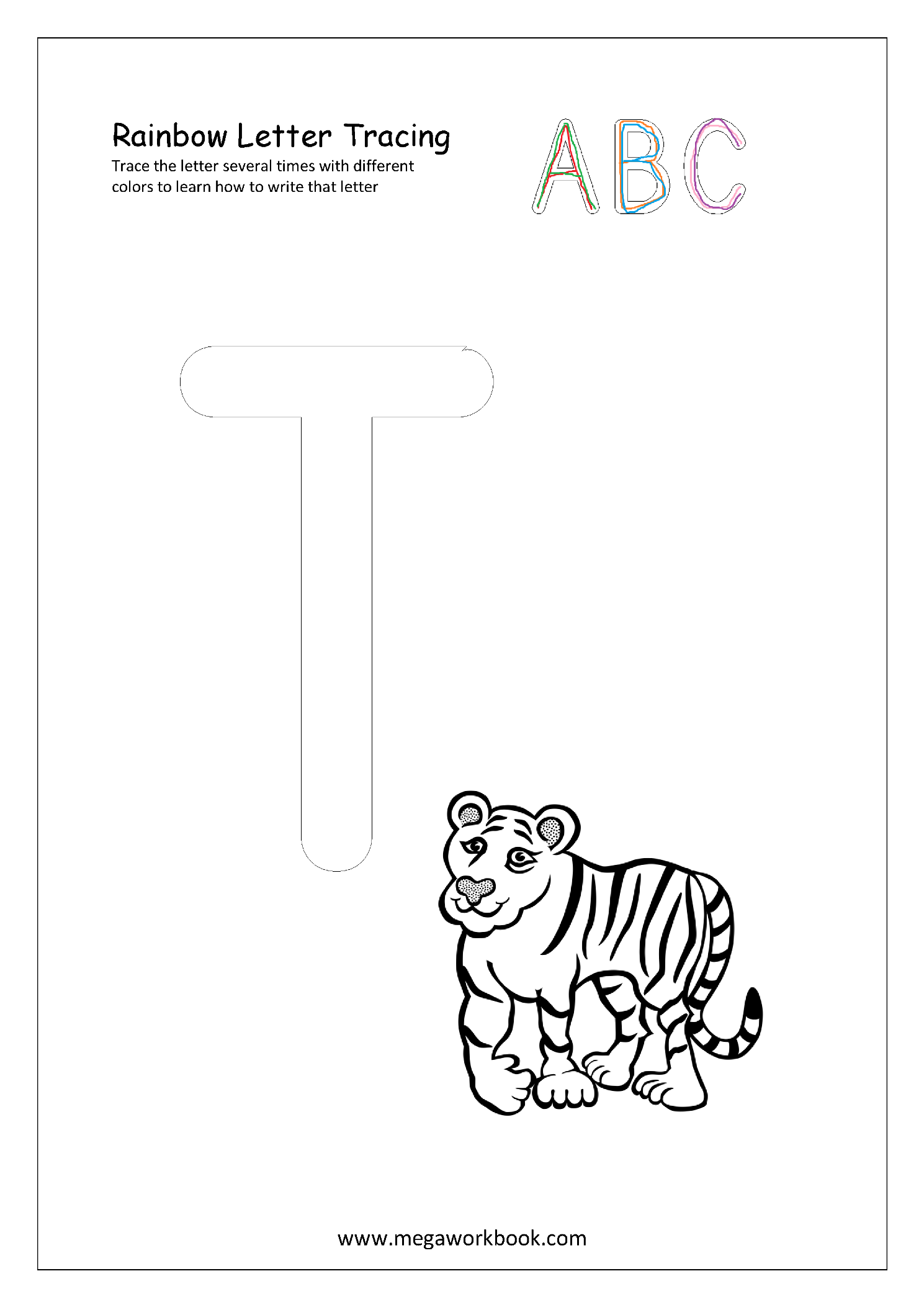 Rainbow Letter Tracing For Capital Letters - Alphabet