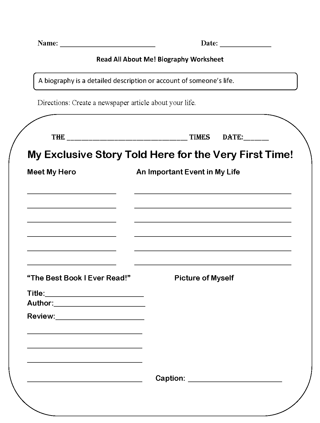 Read All About Me Back To School Worksheets | Homeschool