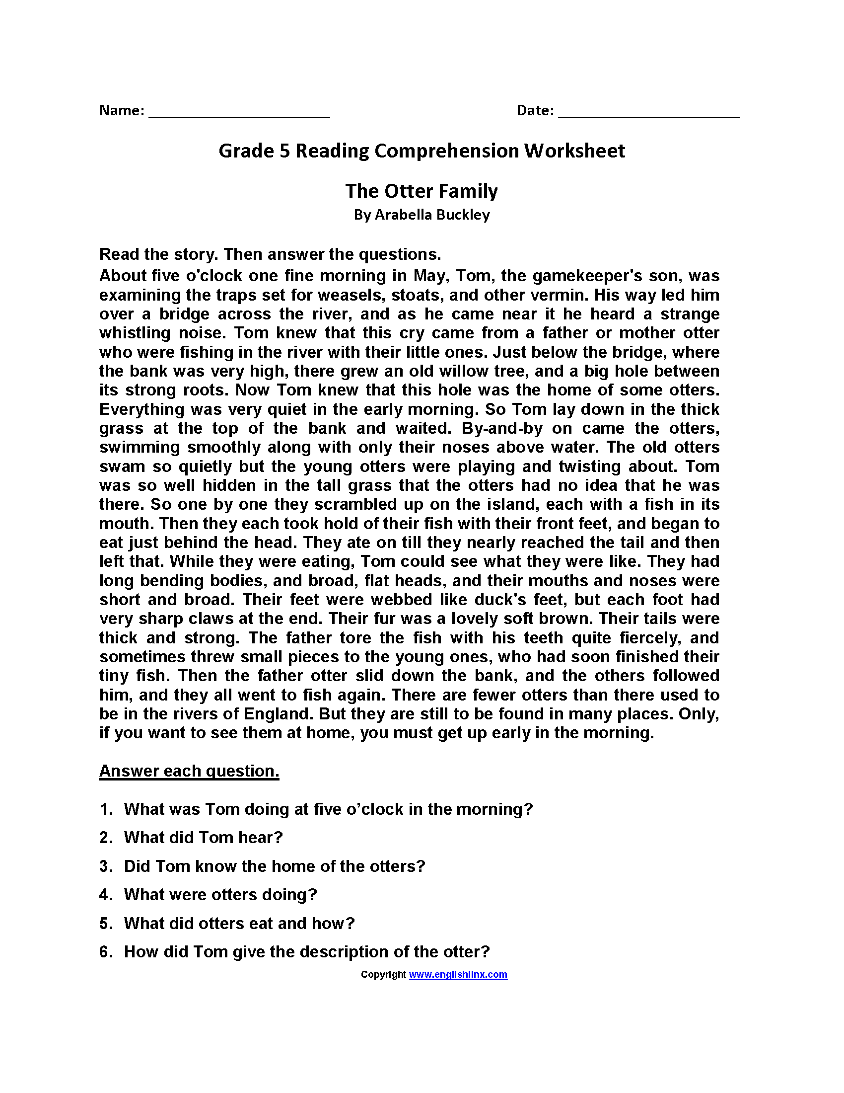 5th Grade Reading And Writing Worksheets