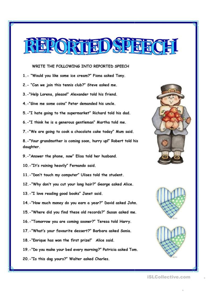 Reported Speech   English Esl Worksheets For Distance