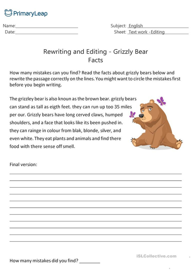 Rewriting And Editing   Grizzly Bear Facts   English Esl