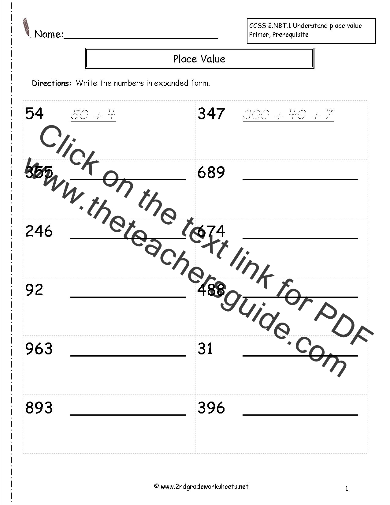 Second Grade Reading And Writing Numbers To 1000 Worksheets