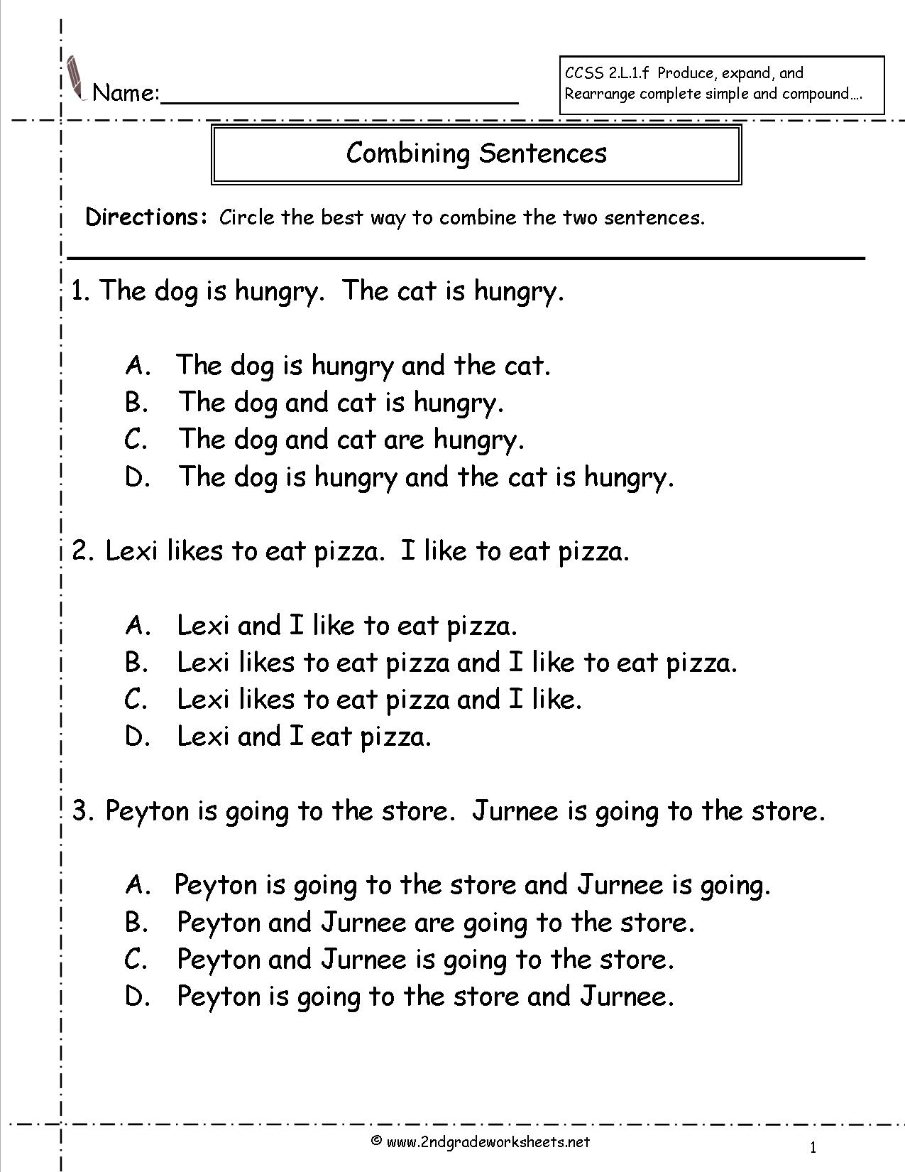 Second Grade Sentences Worksheets Ccss Command Andst For