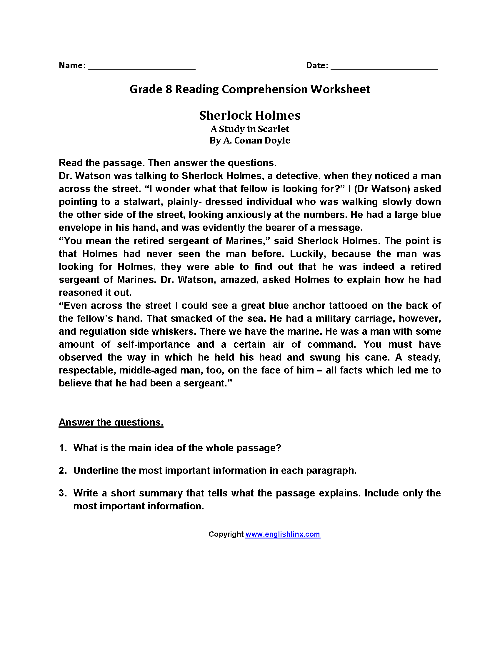 8th Grade Reading And Writing Worksheets