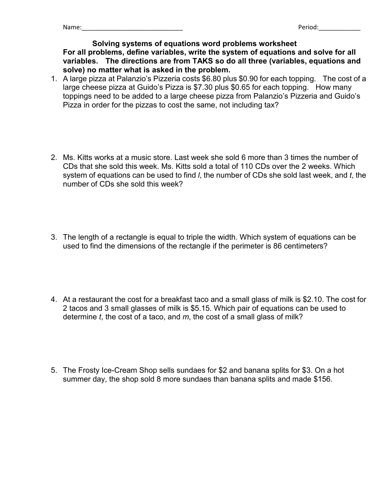 Writing Equations From Word Problems Worksheet