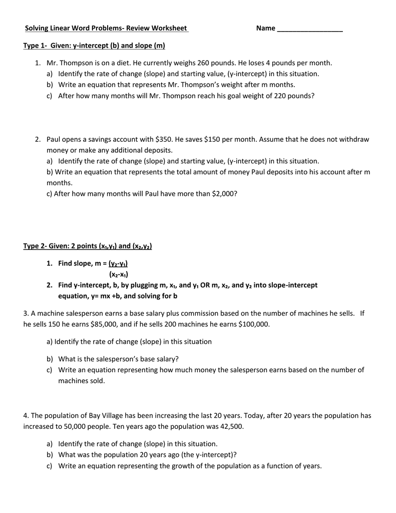 Writing Slope Intercept Equations From Word Problems Worksheet