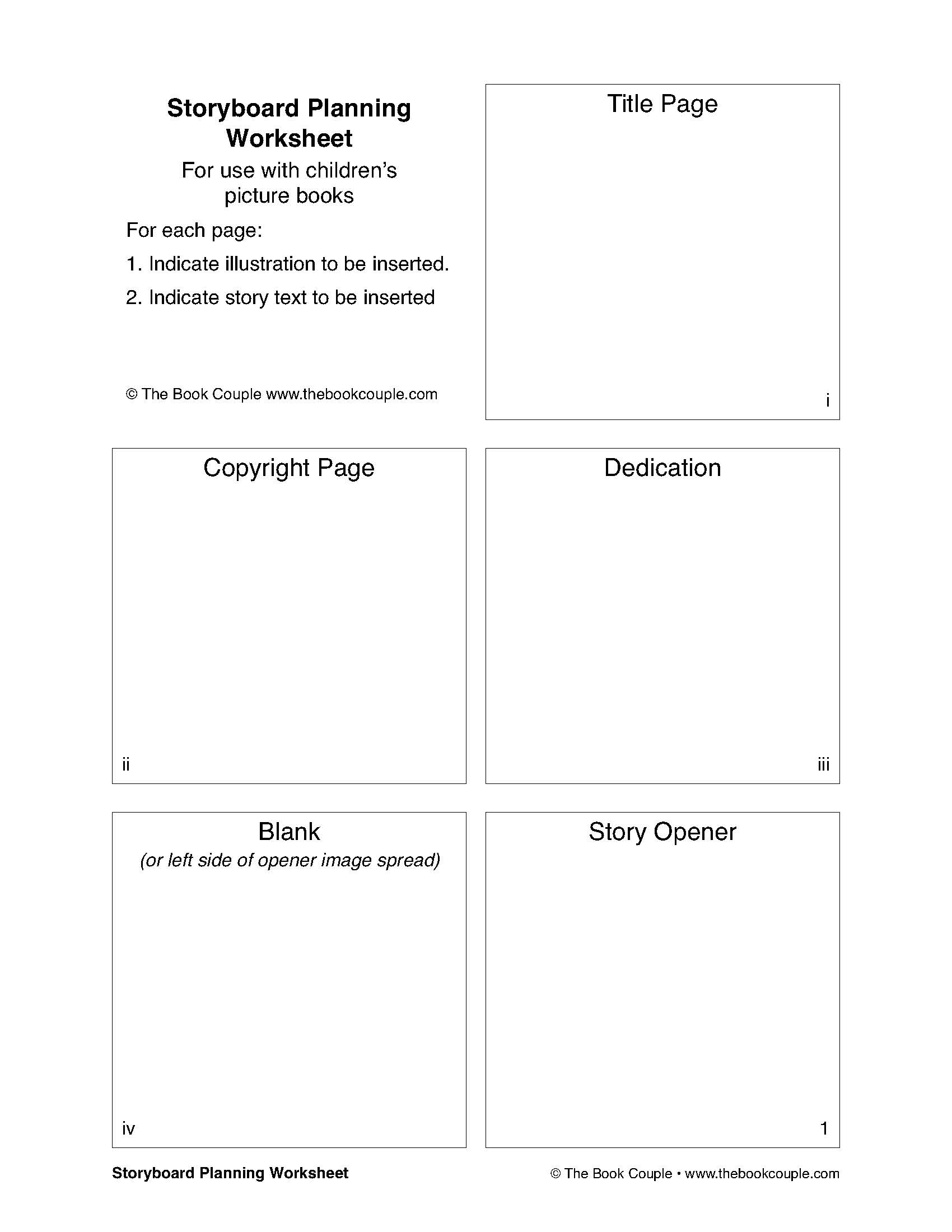 Storyboard Planning Worksheet For Use With Children's