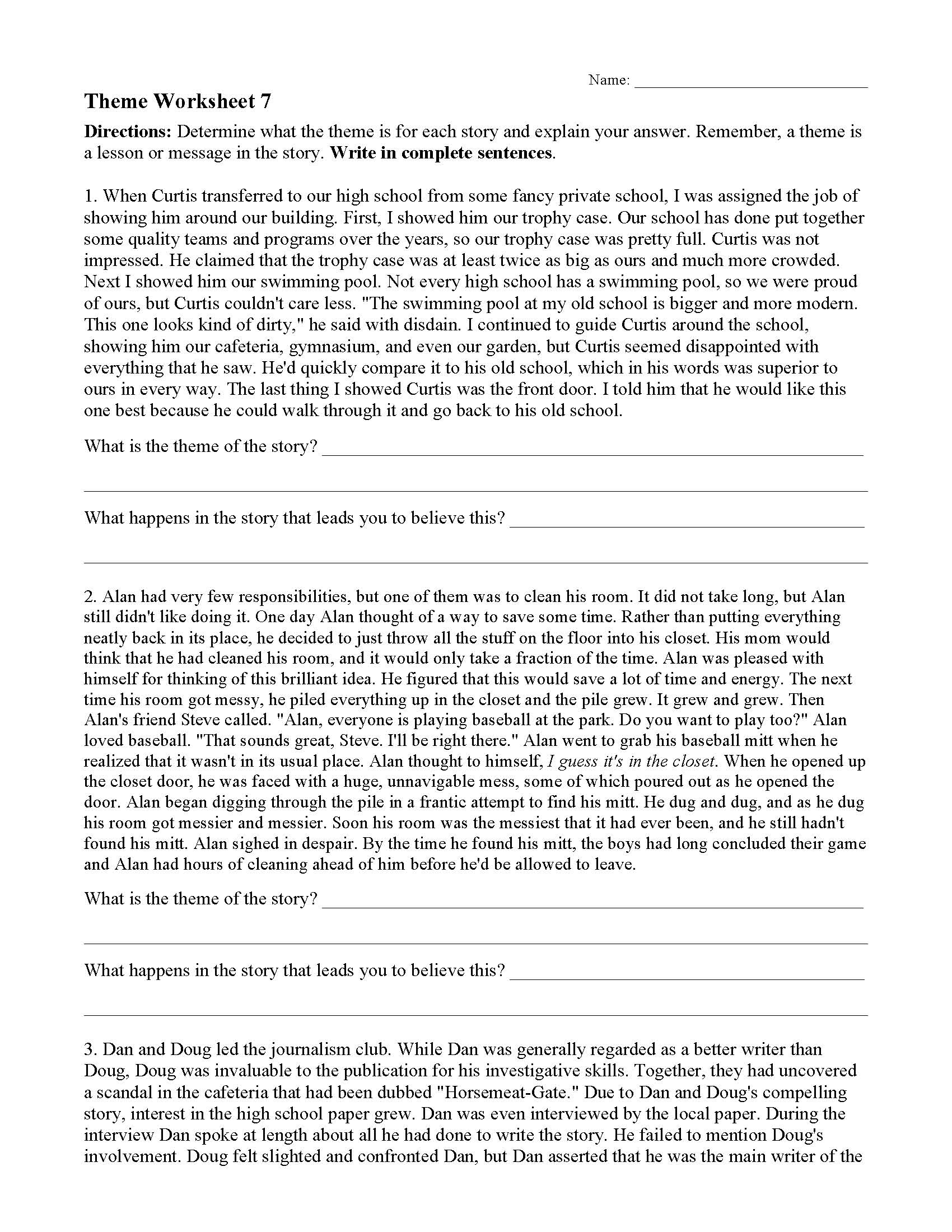 Theme Or Author's Message Worksheets   Ereading Worksheets