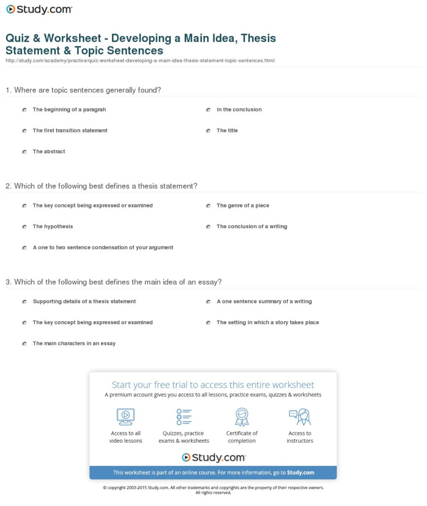 Thesis Statement Worksheets | Printable Worksheets And