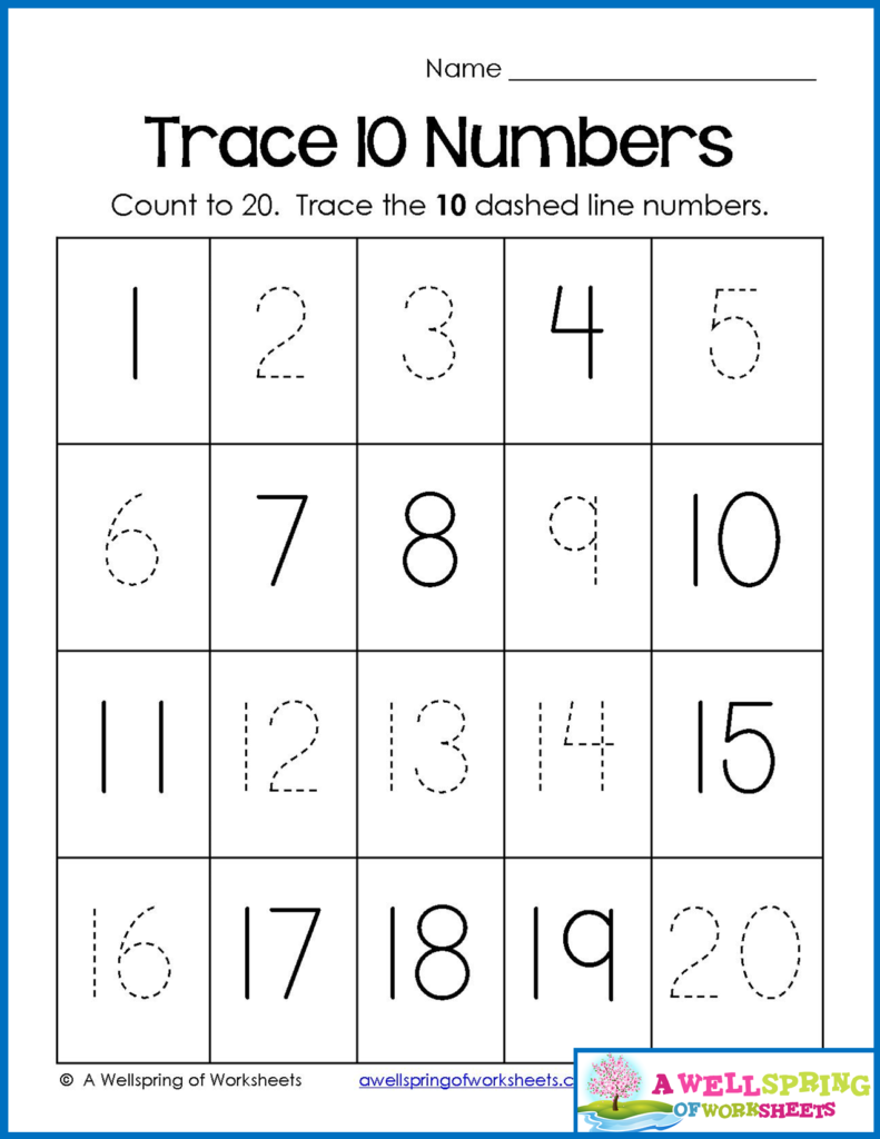 Trace Numbers 1 20 Worksheets In This Worksheet, Kids Count