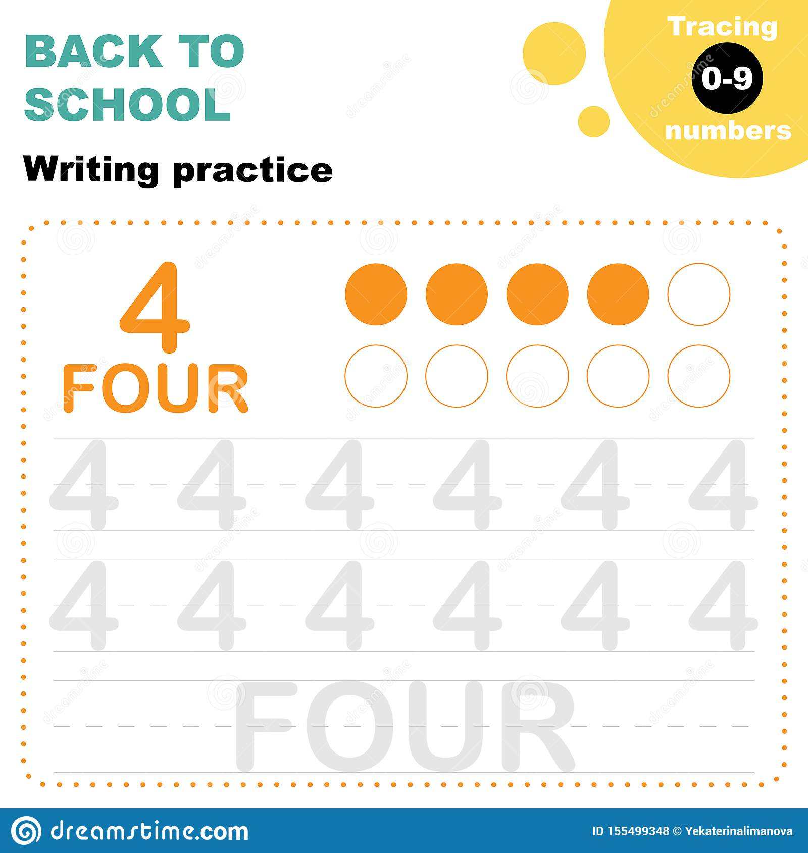 Tracing Numbers 0-9 Worksheet Stock Vector - Illustration Of