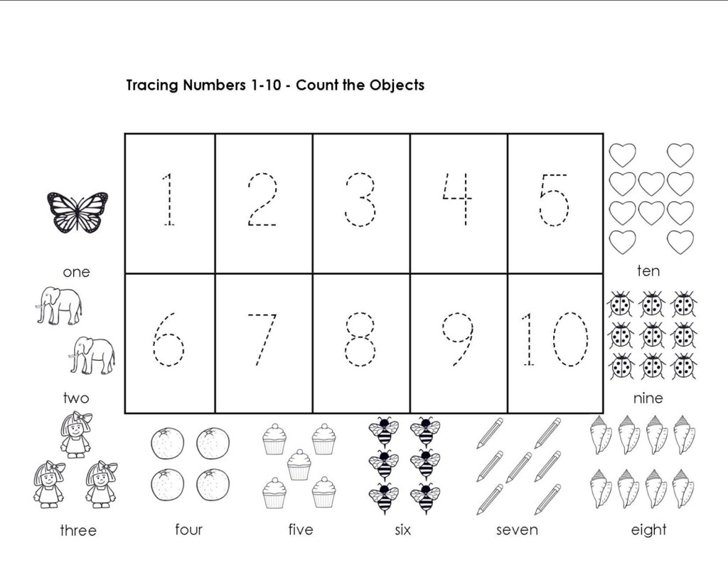 Tracing Numbers 1 10 Worksheets   Activity Shelter