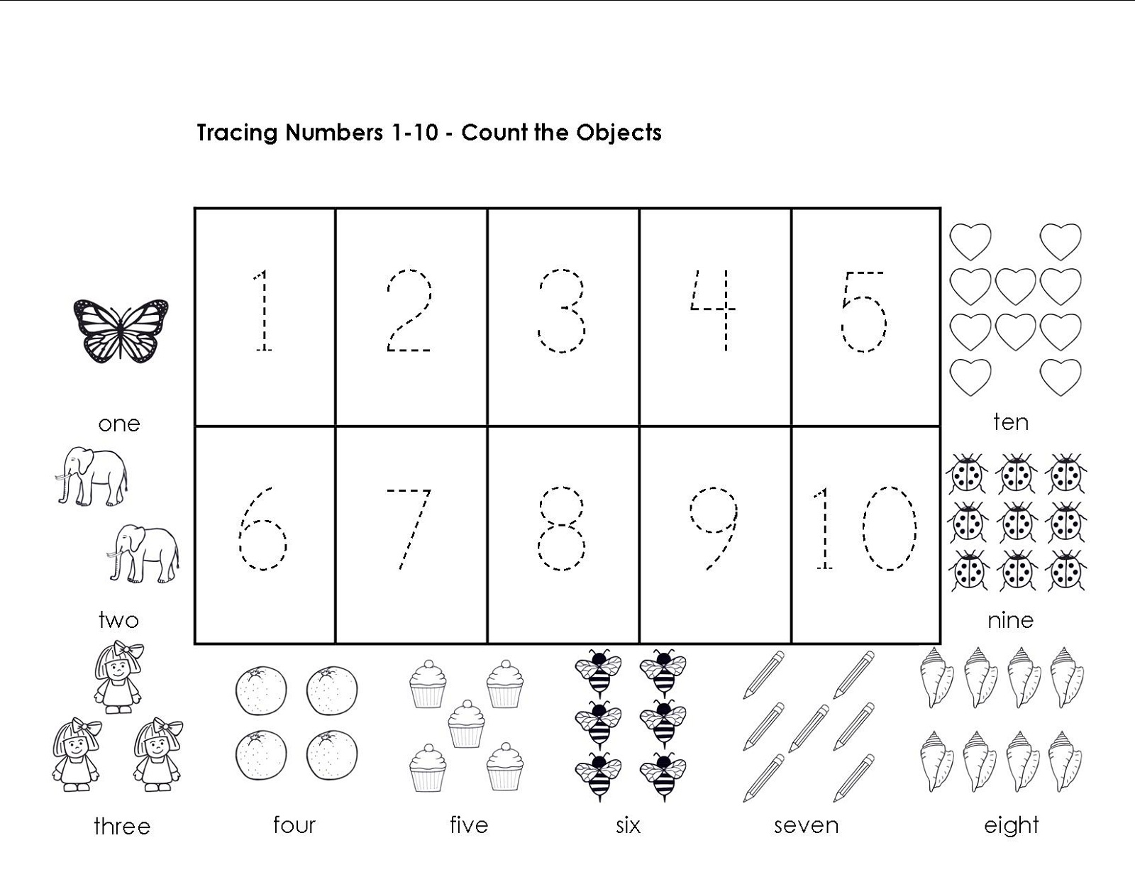 Tracing Numbers 1-10 Worksheets   Activity Shelter