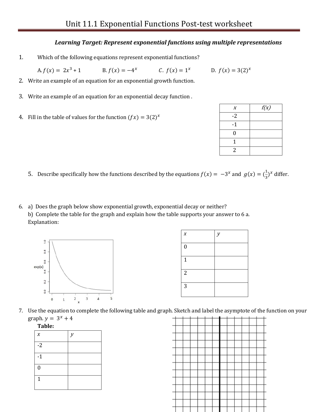 Unit 11.1 Exponential Functions Post